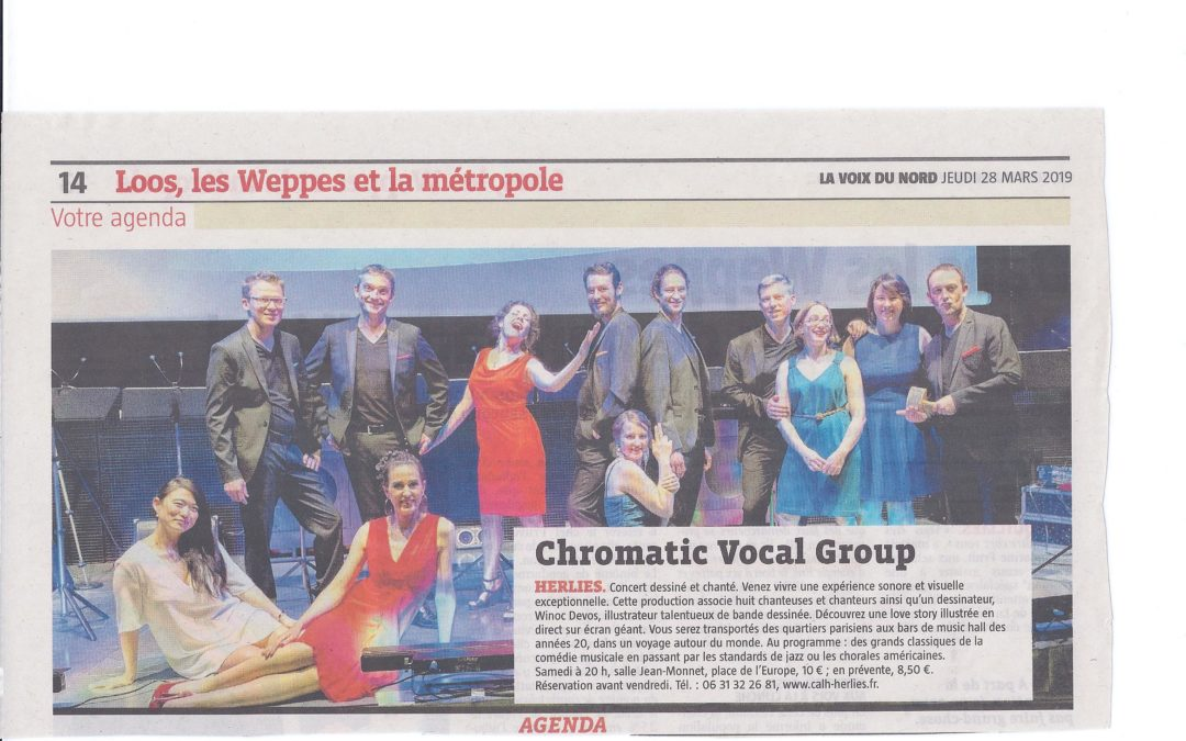 Voix du Nord 28/03/2019  ( Concert Chromatic Vocal Group)